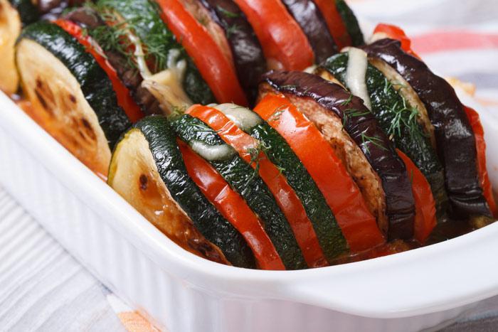 Abobrinhas, Berinjelas e Tomates Assados